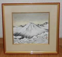 作家物、巨峰銘入り富士山の絵画ガラス額入りです。
