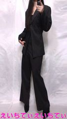 大きいサイズ*キャリア ビジネス 黒ピンスト デキスタイル パンツスーツ 美品♪�N