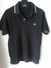 FRED PERRY黒色×桃色半袖ポロシャツ Lサイズ ブラック ピンク 即決