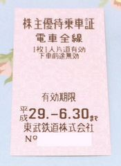 ★送料込/東武鉄道株主優待乗車証/片道全線/H29.6/30迄★