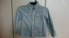 未使用 キッズシャツ ギンガムチェック 男女兼用110