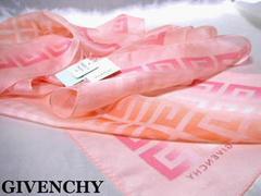 新品タグ付◆ジバンシイ◆ シルク100%ロゴスカーフ 淡いピンク系