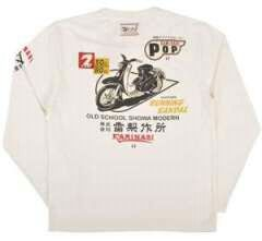 新作カミナリ雷/ロンT/白L/KMLT-27/東洋テッドマン