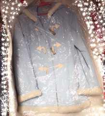 かわいいパステル水色のフード付きコート☆