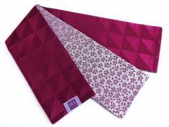 リバーシブル半巾帯半幅帯細帯ウロコ小桜ワイン色 洗える着物&小紋に