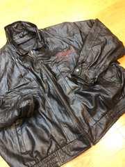 オールレザージャケット  黒本革  size3XL  ロゴ刺繍  used