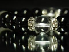 大特価!!本水晶クリスタル×黒瑪瑙石ブラックオニキス数珠ブレスレット