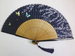 浴衣&着物&デニムに 女性レディース用シルク扇子濃紺地枝垂桜蝶