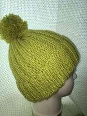 手編みニット帽子 オリーブ
