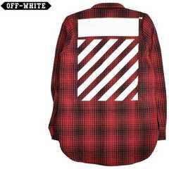 新品off white virgil ABLOH オフホワイト長袖ウールチェックシャツXS