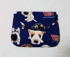 ◆THE DOG◆子犬の顔アップ×紺地◆被せ蓋ポーチ