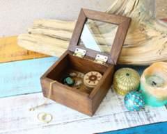 アンティーク木材ガラス扉付ボックス小物入れヨーロピアンアクセサリーBOX宝箱
