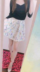 愛用紺色七分丈トップス&花柄スカートset