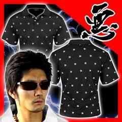 送料無料ヤンキーチンピラオラオラ系総柄半袖ポロシャツ/ホストお兄系服15012黒-M