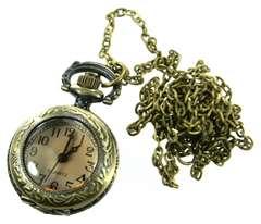 ガラスカバー付 小型懐中時計 ネックレス アンティークゴールド