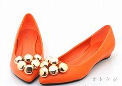 ファッションパンプス☆MURUA系☆オレンジ ペタンコ ローヒール