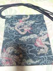 ☆新柄紺×雲海龍玉柄ナナメ掛巾着袋