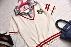 大きいサイズ■チェックシャツ重ね着風半袖ニット■LLサイズ