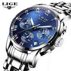 腕時計 メンズ シルバー ブルー