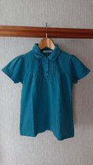 グリーン ギャザ—いり ポロシャツ M