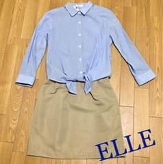 定価9,720円【新品未使用】ELLE 2weyドッキングシャツワンピース