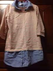 赤白ボーダーTシャツ デニムシャツ重ね着風チュニック