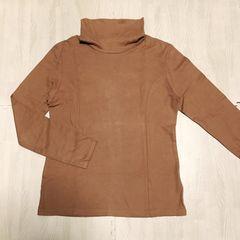 【used】ストレッチ ハイネックTシャツ/ベージュ/LL/縦ライン