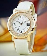 1円〜◆回るクリスタル 大盤腕時計ホワイト
