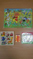 アンパンマンパズルと木のオモチャ、けろっぴのパズルとマックのトランプ!