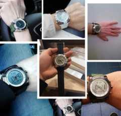 スポーツ腕時計 デジタル アナログ 多機能 LED緑
