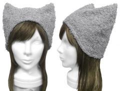 ハンドメイド◆コットンシャギーニット/ネコ耳帽子◆グレー