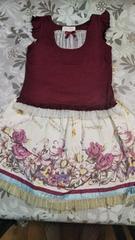 美品シャーリーテンプルノースリーブとスカートセット110サイズ