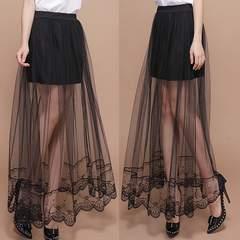 新品*シースルーレイヤード*裾レース付*ふんわり♪フレアAライン*ロングスカート*黒