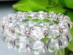 トルネ-ド彫りクリスタル高級水晶AAA10ミリ銀ロンデル数珠