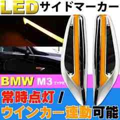 BMW M3風LEDサイドマーカー(ダミーダクト)アンバー左右分 as1034