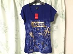 新品未使用ハワイ購入GUESSゲス半袖Tシャツ青色ブルーラメ