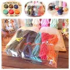 6色まとめ売り☆カラー麻紐5m ハンドメイド編み物リネン糸ラッピング手芸