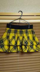黄色チェック♪ヒラヒラ♪ミニスカート