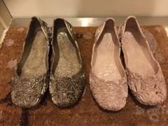 最終値下OKバレーシューズ花柄透かし編Ls24前後美品カーキ雨靴
