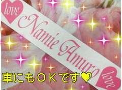 安室奈美恵 ステッカー NamieAmuro 車 アムロちゃんloveハートシールピンクpink