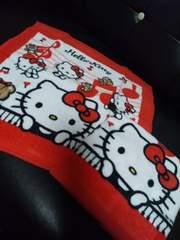 新品ハローキティウォッシュタオル2枚組白×赤