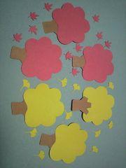クラフトパンチダイカット秋の木のコメントカード6本セット(縦に約7センチ)飾りなど