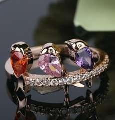 1円〜◆crystal three bird Ring11号