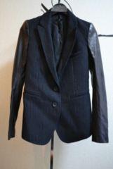 LGBルグランブルー 袖レザーストライプテーラードジャケット