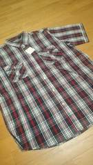 ROCAWEARデザインチェック半袖シャツ 黒赤 サイズXXXL→2XL位 �D