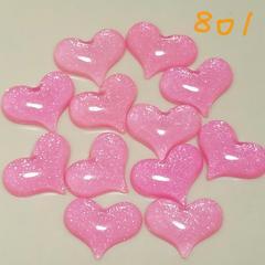 801☆12コ☆(ピンク)ぷっくりハート☆約3cm