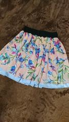 リバーシブル花柄涼しげスカート試着のみM