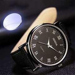 1コイン★超人気 シンプルで薄型、シックなレザーバンド 黒L
