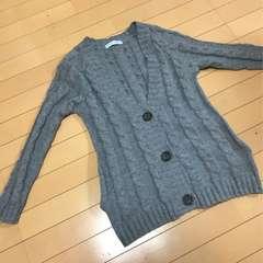 縄編みニットカーディガン◆グレー M〜◆ポケット付