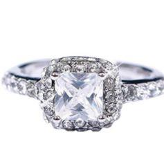 新品 1円〜★送料無料★ 10号 シルバー ダイヤモンド スクエアリング指輪